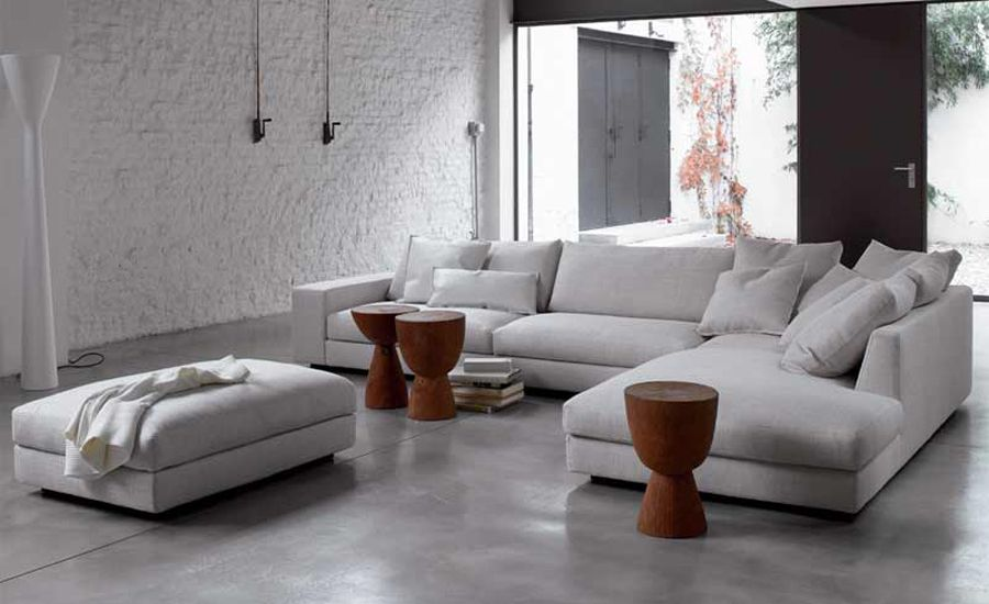 Modern Living Rooms White Sofa Fabric French Design 2013