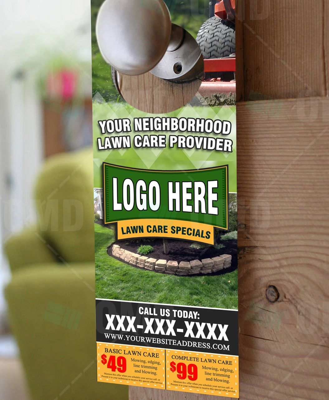 Lawn Care Door Hanger Template By The Lawn Market. Advertise With This Full  Color Design