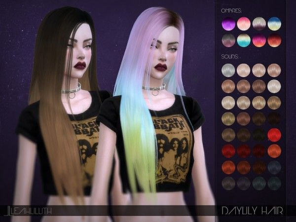 The Sims Resource: LeahLillith Daylily Hair • Sims 4 Downloads