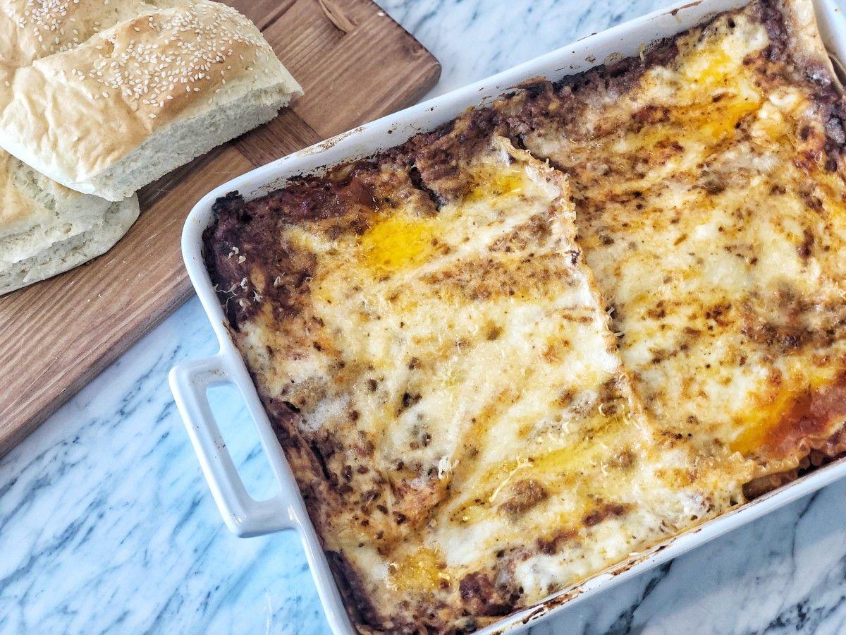 Lasagna Bolognese With Bechamel Sauce Recipe Bechamel Sauce Food Lasagna Bolognese