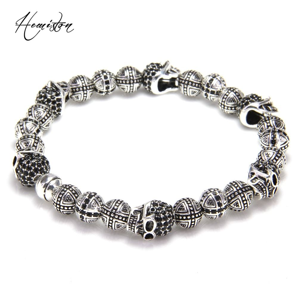 Thomas skulls and cross hero bead elastic bracelet from rebel heart
