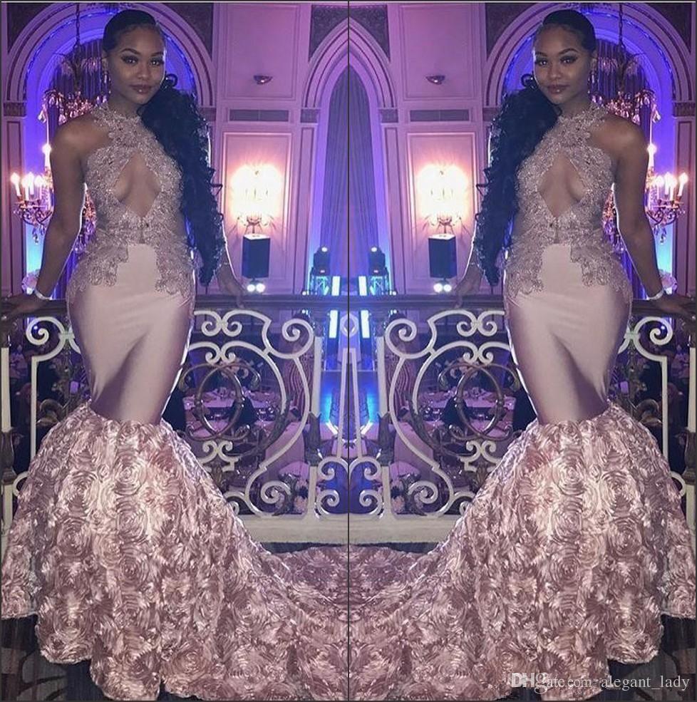 Black Girls Halter Satin Mermaid Long Prom Dresses Rose Gold D