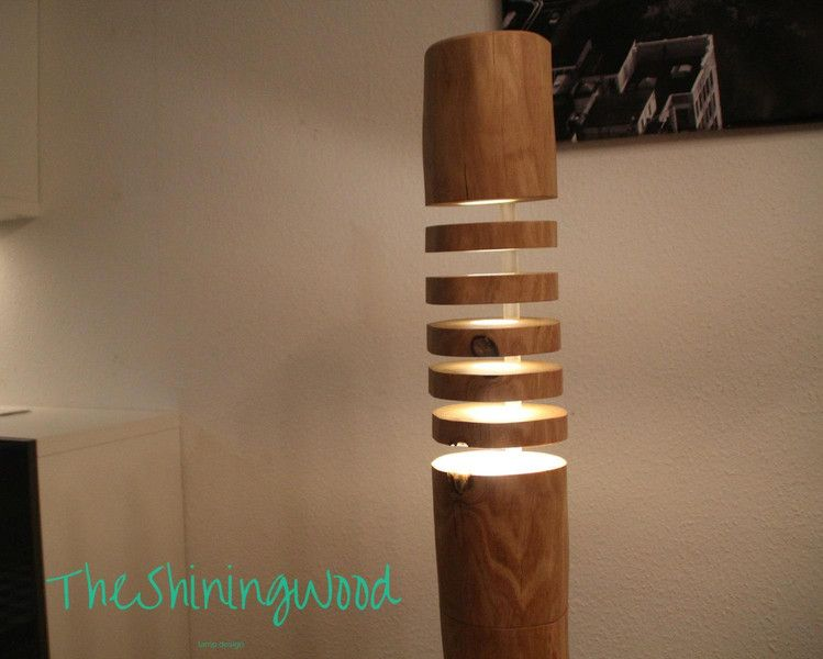 Moderne Massivholz Stehlampe  Design No4 Bauart Design Stehlampe Stehleuchte Holzart