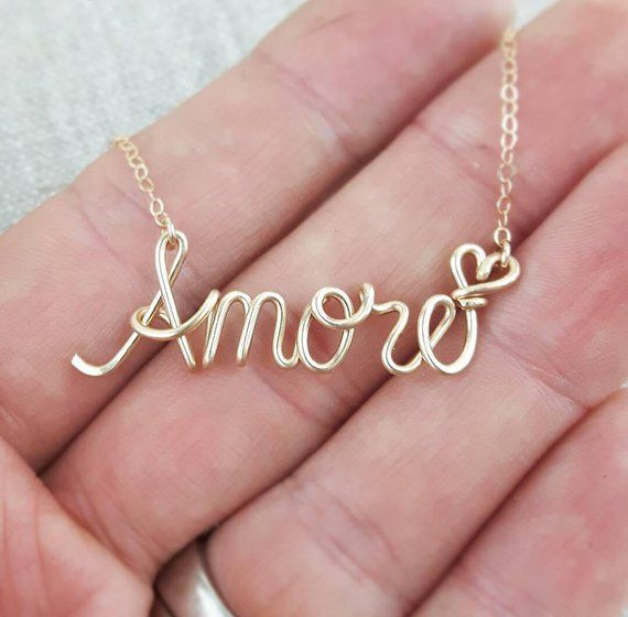 Name Necklace, Paris Theme, French Word Necklace, Love