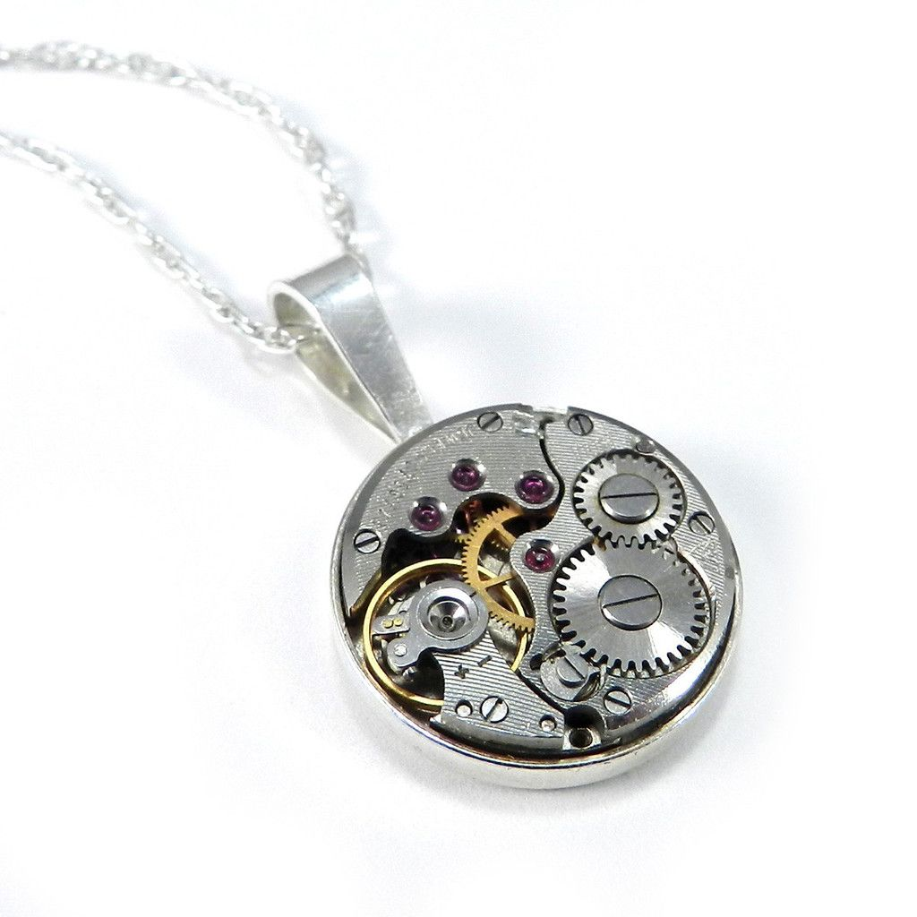 Clockwork Necklace - Petite - STERLING SILVER  Compass Rose Design Victorian and Steampunk Jewelry, Handmade in California