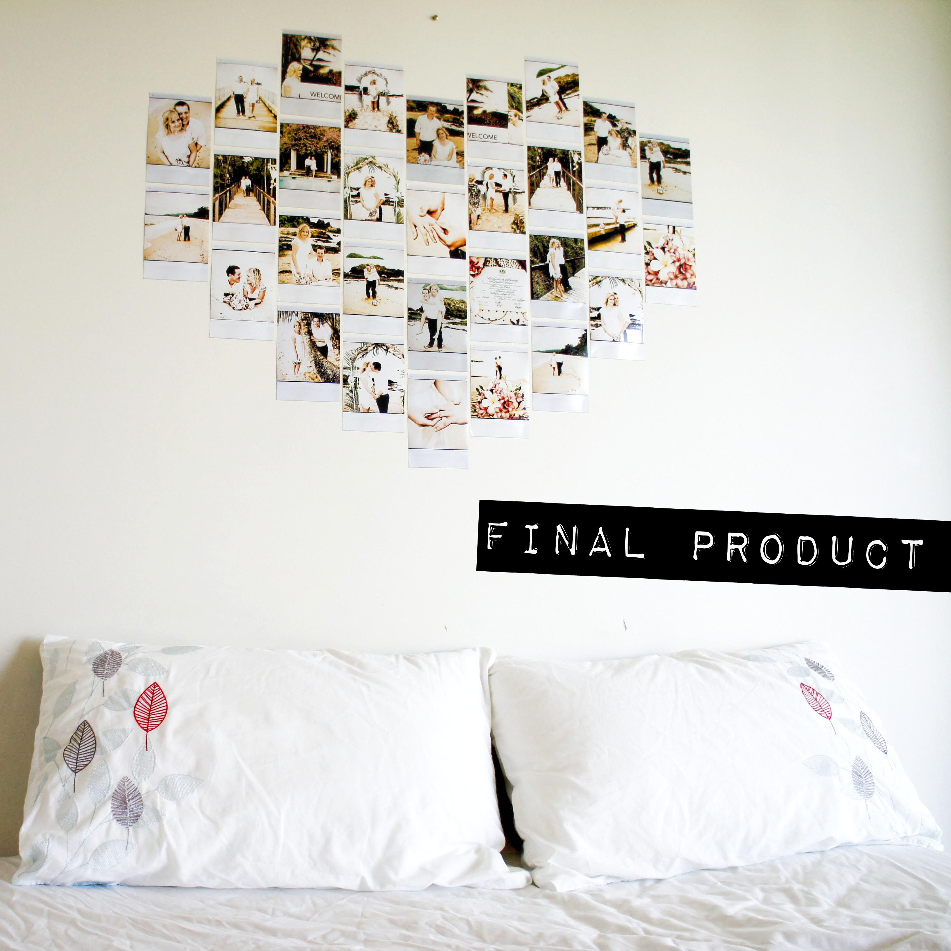 Frame pictures and hang it on your wall into the shape of a heart 18 unique and unusual interior wall art ideas inspiring unique do it yourself wedding photo polaroid heart shape bedroom wall art design f solutioingenieria Gallery