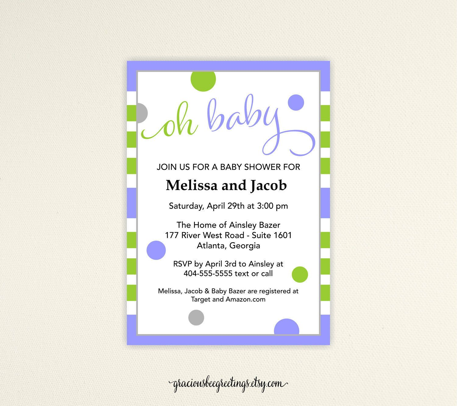 Oh Baby Shower Invitation, Couples Baby Shower, Gender Neutral Baby ...