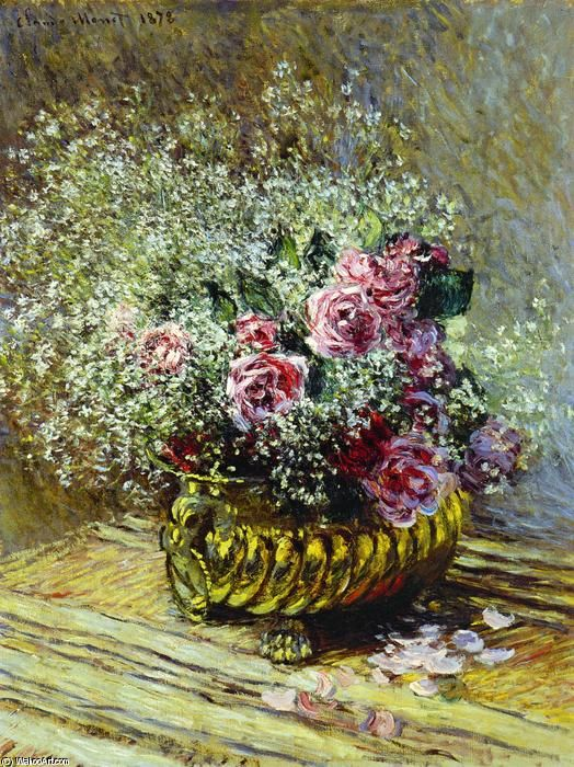 Flowers in a Pot (aka Roses and Baby's Breath) - Claude Monet (1840-1926)