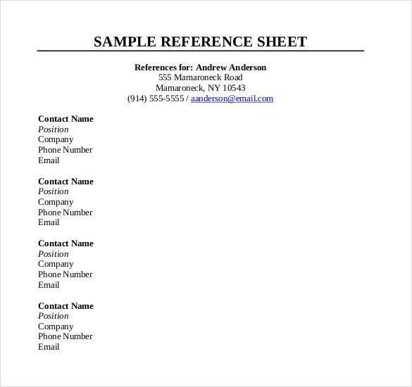10 Reference Sheet Templates  Free Printable Word Excel  PDF  sampleformatsorg  Reference