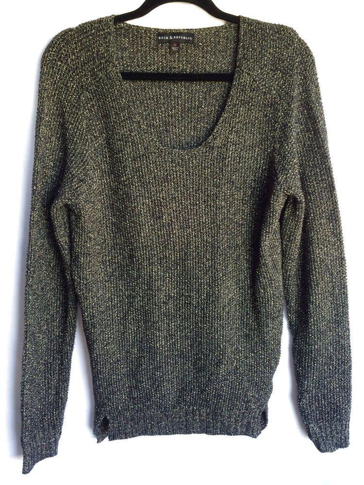 NEW $64 Rock & Republic Textured Black with Gold Threads Tunic Sweater, Size M #RockRepublic #Tunic