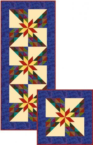 scrappy+Hunter+Star+quilts | Scrappy HUNTER STAR TABLE RUNNER QUILT KIT Northcott Freckles