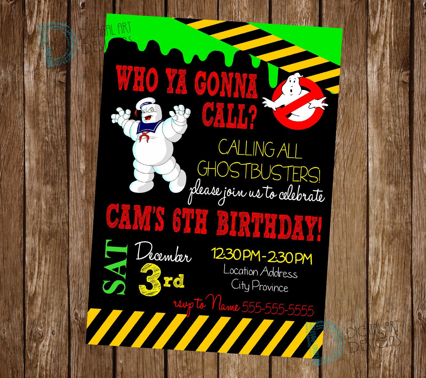 Ghostbusters Birthday Party Invitations with by PartyPrintsOnline