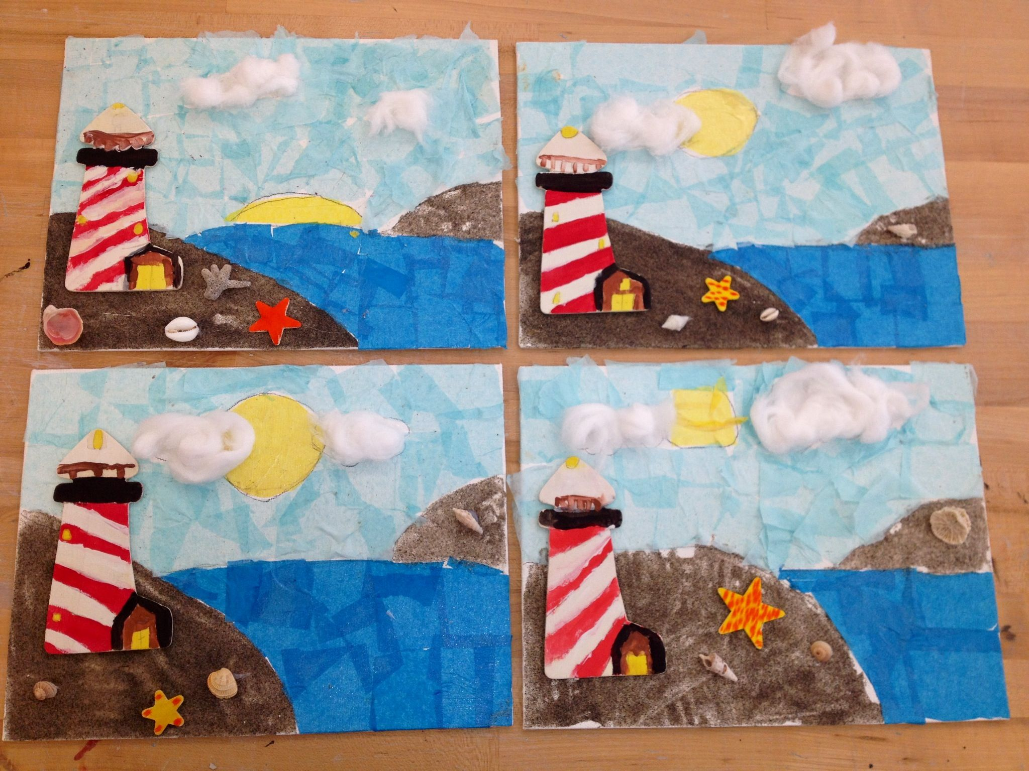 Lighthouse By The Sea Canvas Sand Tissue Paper Wooden