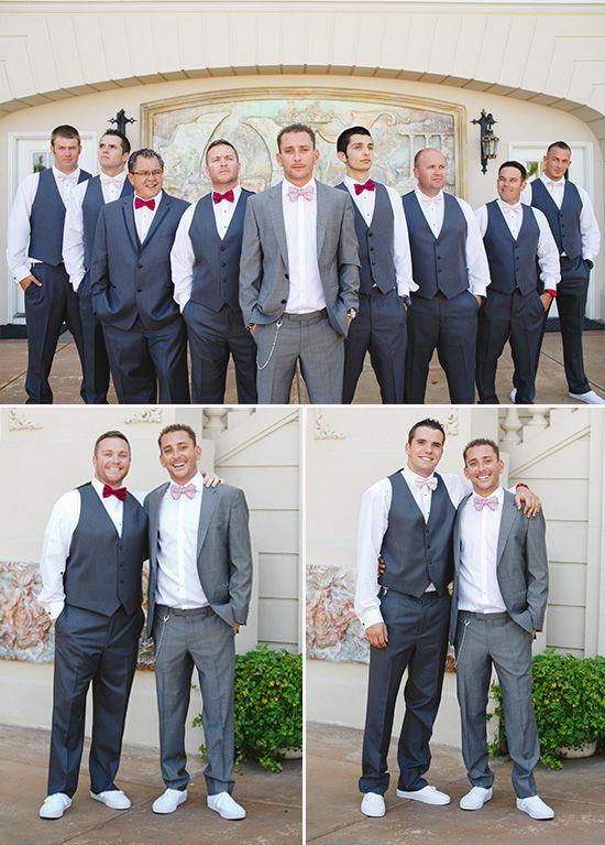Pink Vintage Glam Wedding | Gray groomsmen suits, Gray groomsmen ...