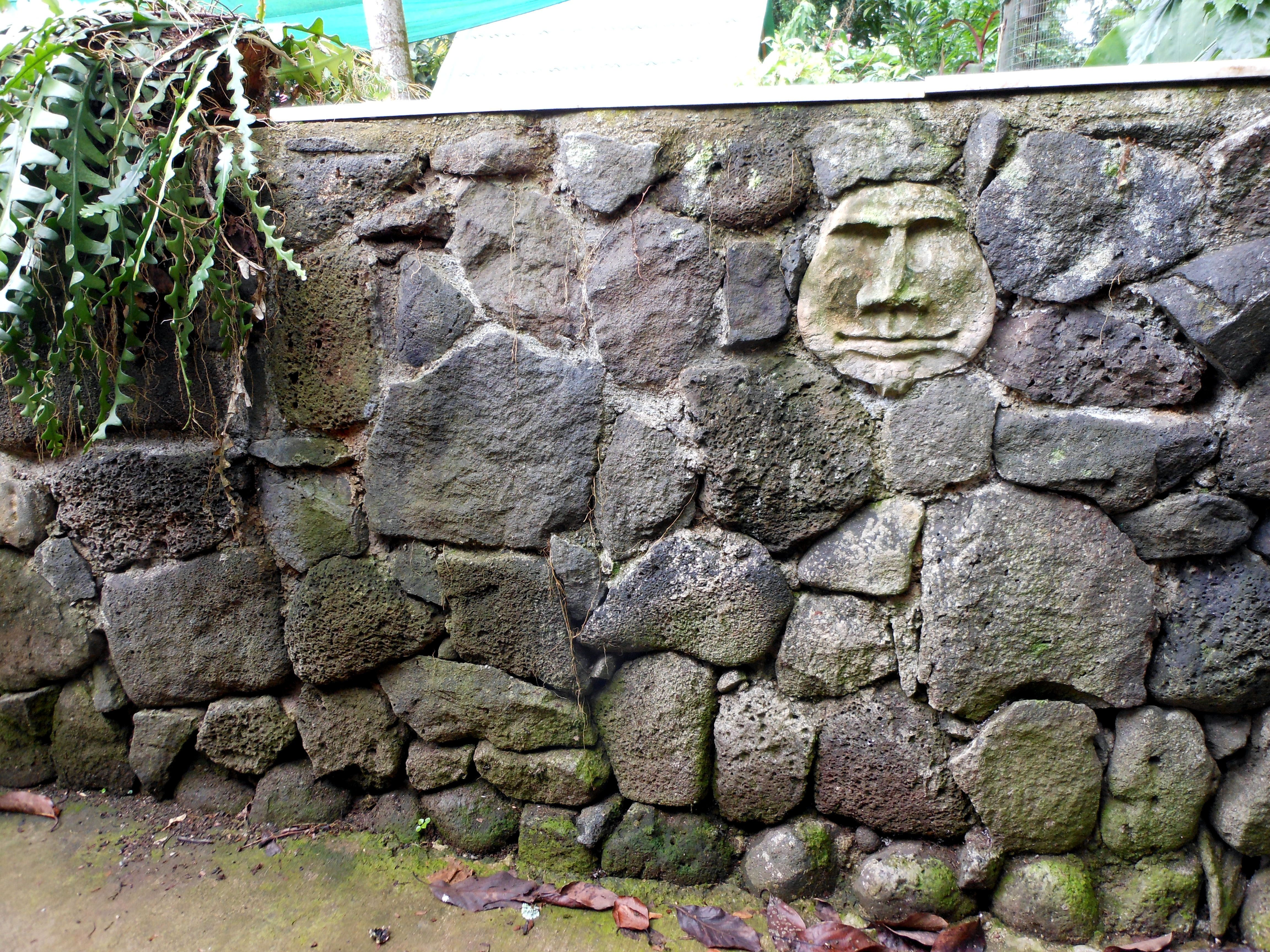 Another Cement Face I Made And Was Imbedded In The Rock Wall We Built We Have A Lot Of Rock Walls Stone Wall Garden Art Backyard