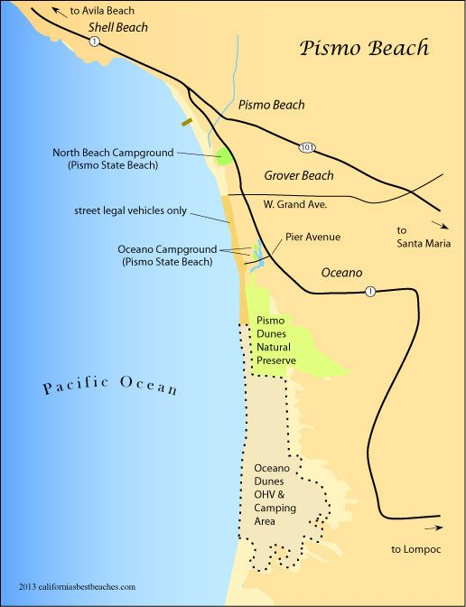 Pismo Beach Area Map Camping Ca Northern Central In 2019