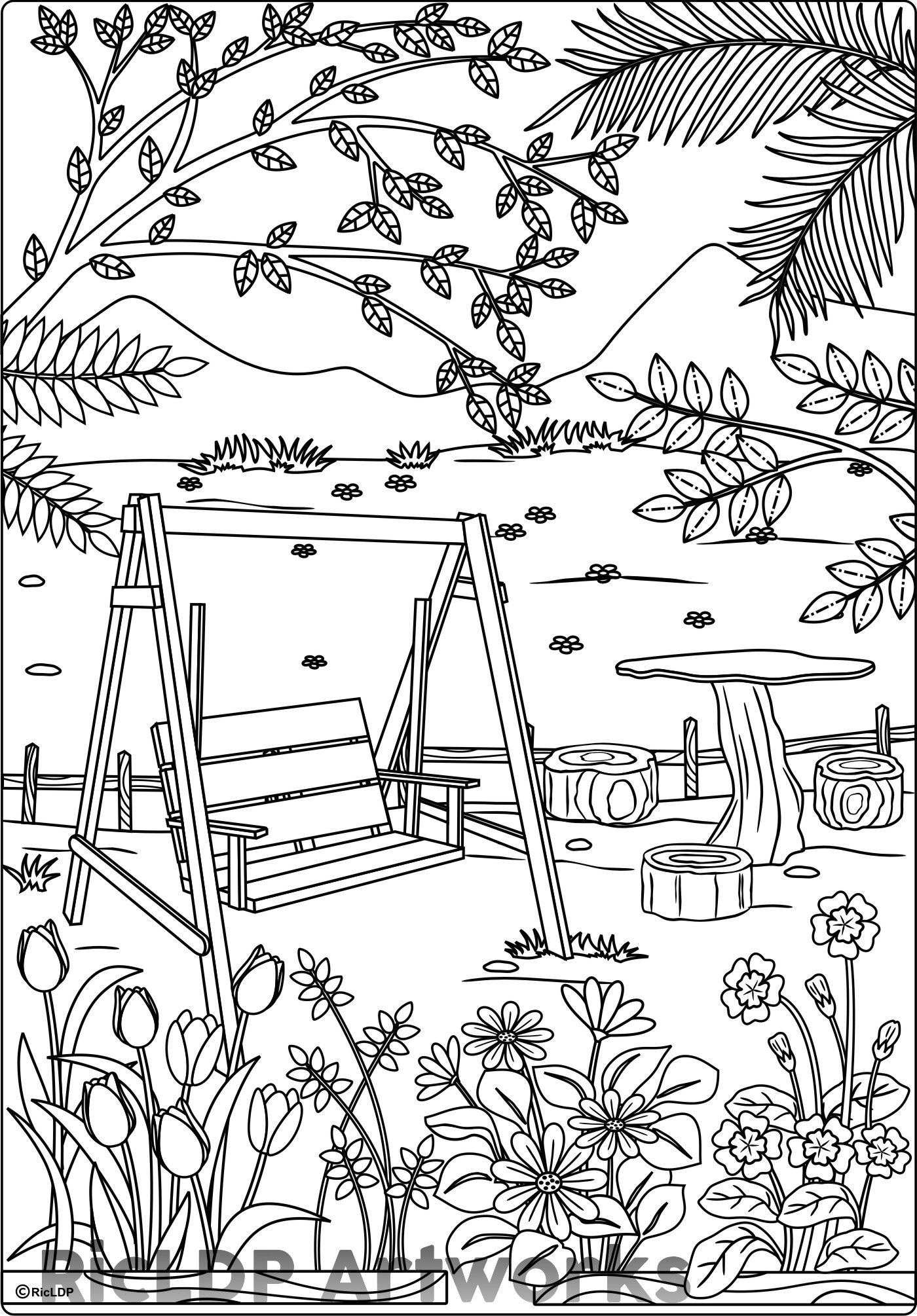 At The Park Coloring Page For Adults Com Imagens Desenhos