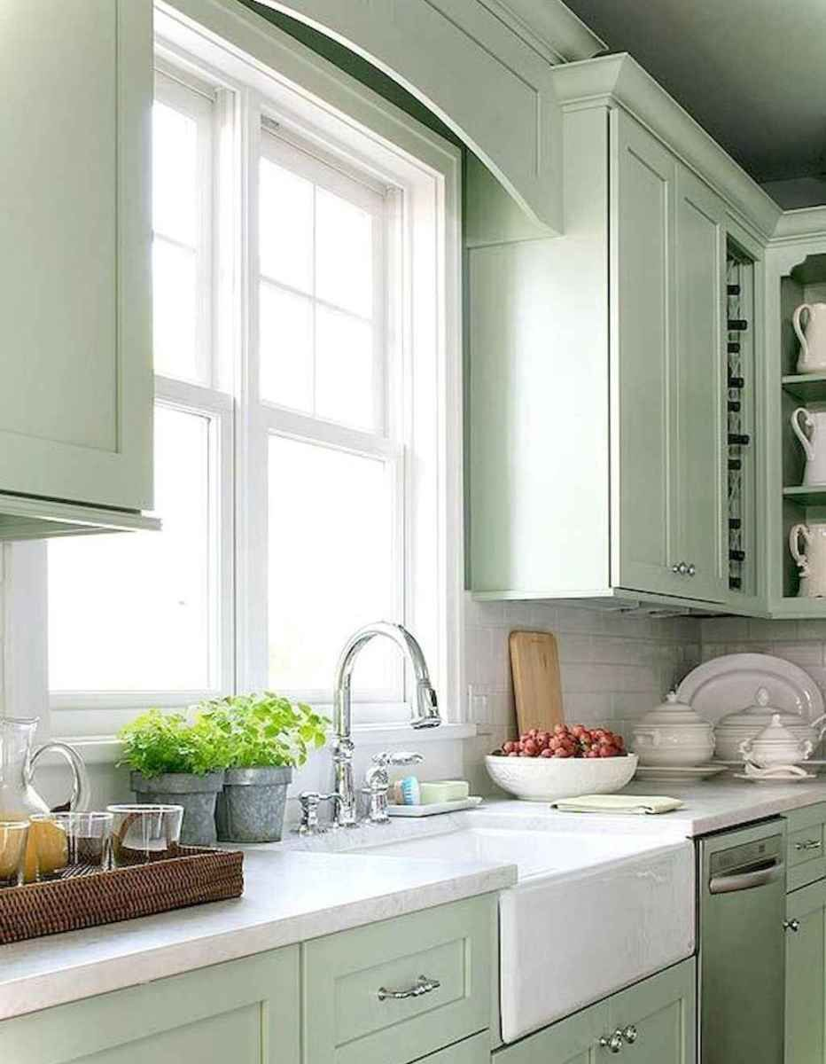 Bridge Over Sink Between Cabinets Best Rustic Farmhouse Kitchen Cabinet Makeover Ideas 33 Green Kitchen Cabinets Kitchen Design Farmhouse Kitchen Cabinets