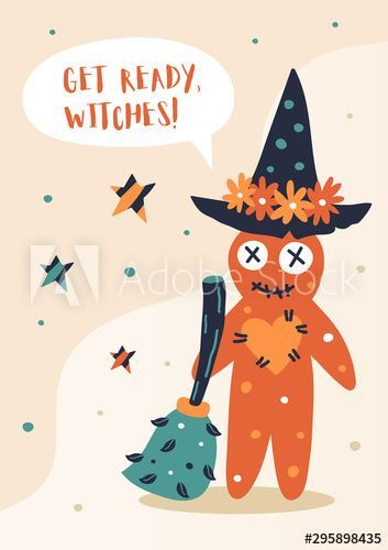 Vector Happy Halloween greeting card banner flyer poster invitation templates Hand drawn Vector collection with voodoo doll witch hat broom and stars