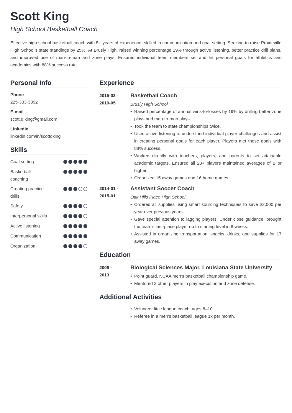 coaching resume example template simple in 2020 Resume