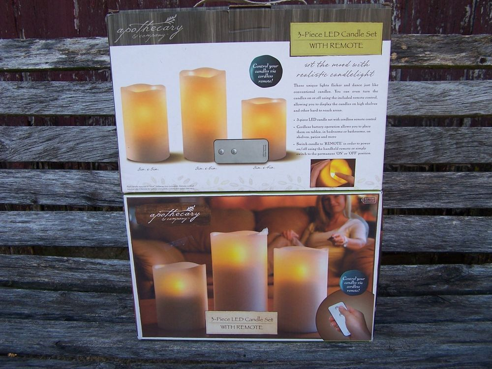 Lot Of 2 Apothecary Company 3 Piece Led Candle Set Remote New In Box Led Candle Set Candles Led Candles