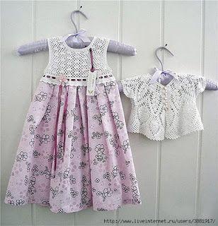 Croche pro Bebe: Vestidos em croche e tecido
