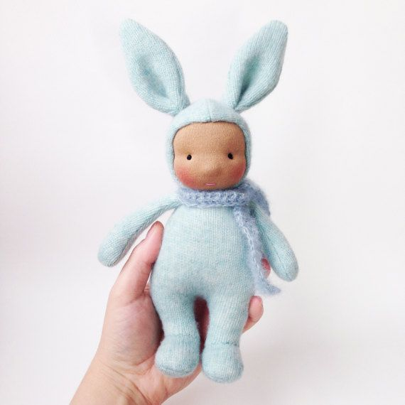 Bunny waldorf doll Cashmere rabbit doll Steiner by CreepyandCute