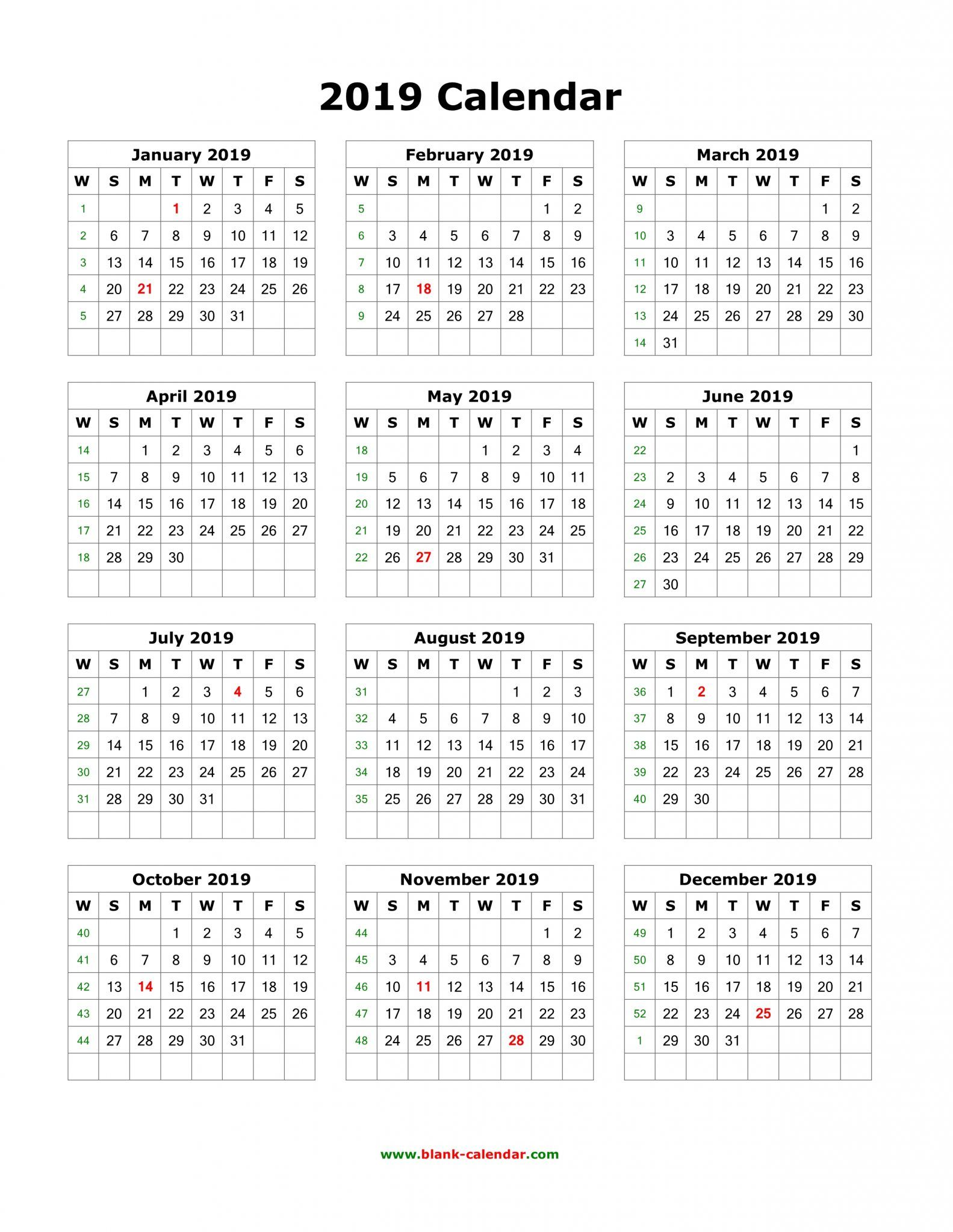 Download Blank 2019 Calendar Templates 12 Month Calendar In One