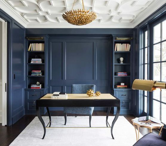 Benjamin Moore Newburyport Blue Transitional House Office Interior Design Home Office Design