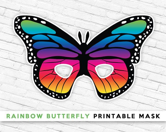 Halloween mask rainbow butterfly printable mask butterfly mask rainbow butterfly printable mask butterfly mask kids bug mask summer pretend play maxwellsz