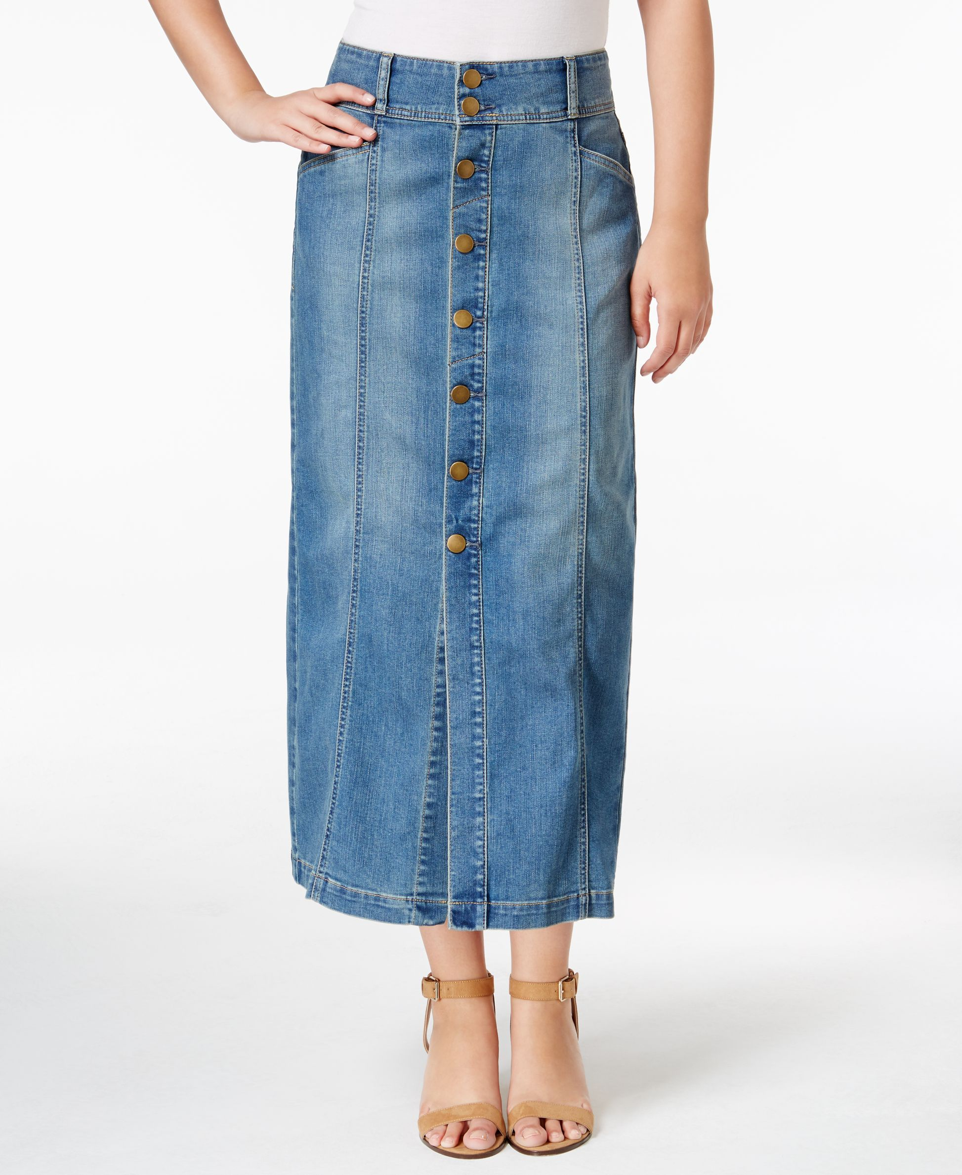 7c631a3578 Style & Co Button-Front Long Denim Skirt, Only at Macy's   Denim ...