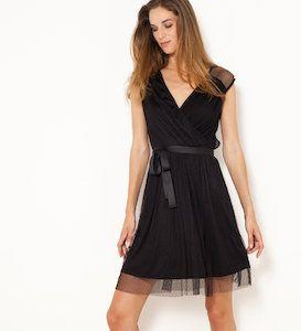 afc6373ef67ded Vente Robe noire plumetis cache-cœur - Camaïeu Parfaite pour faire ...