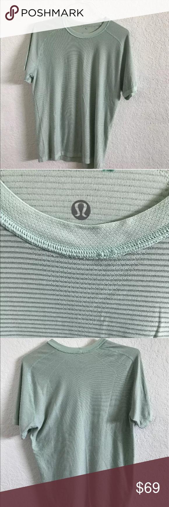 """Men's Lululemon Striped  Athletic Workout Shirt L Men's Lululemon Striped  Athletic Workout Yoga Shirt Sz Large chest 40"""" length 28"""" lululemon athletica Shirts Tees - Short Sleeve"""