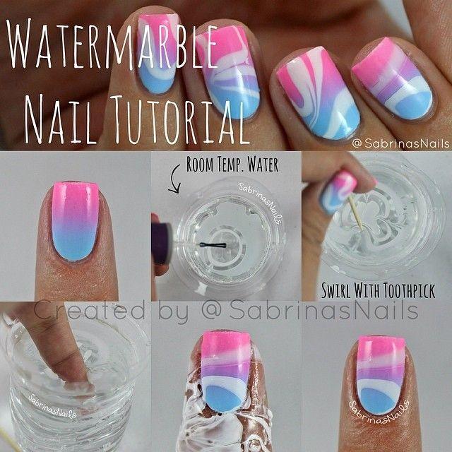 Water Marble Nail Tutorial | Get Nailed | Pinterest | Marble nails ...