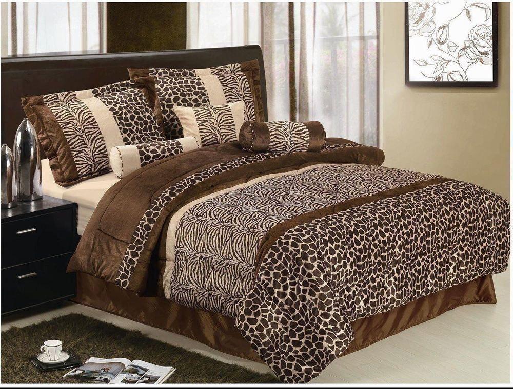 Details about Leopard Zebra Tan Brown Faux Fur 7 pc ...