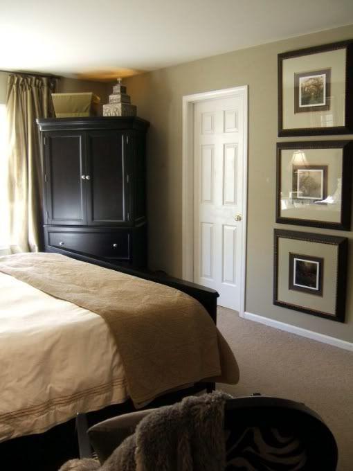 Dark Furniture Tan Walls White Moldings Linens