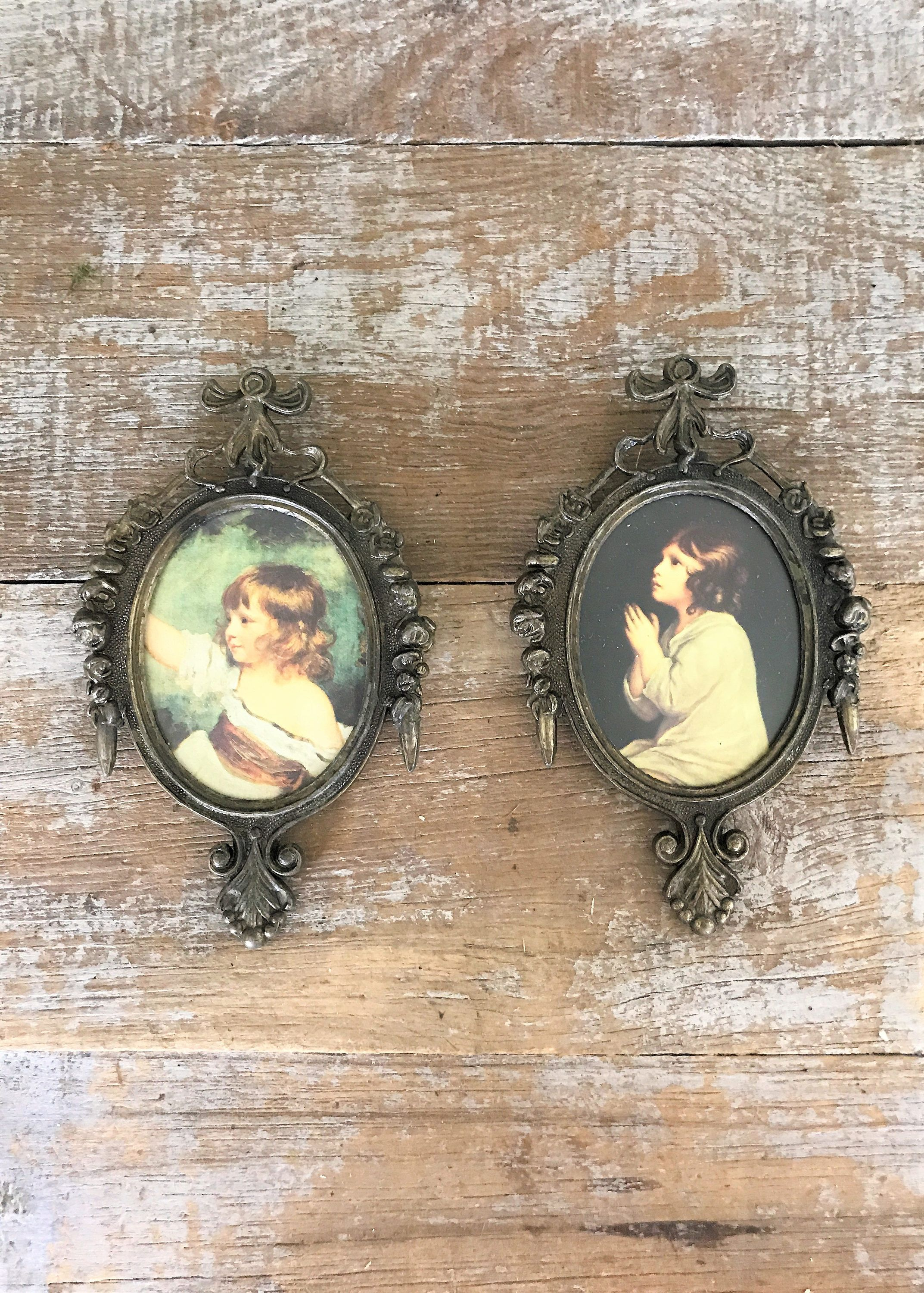 Wall Art 2 Small Antique Wall Hangings Ornate Brass Frame