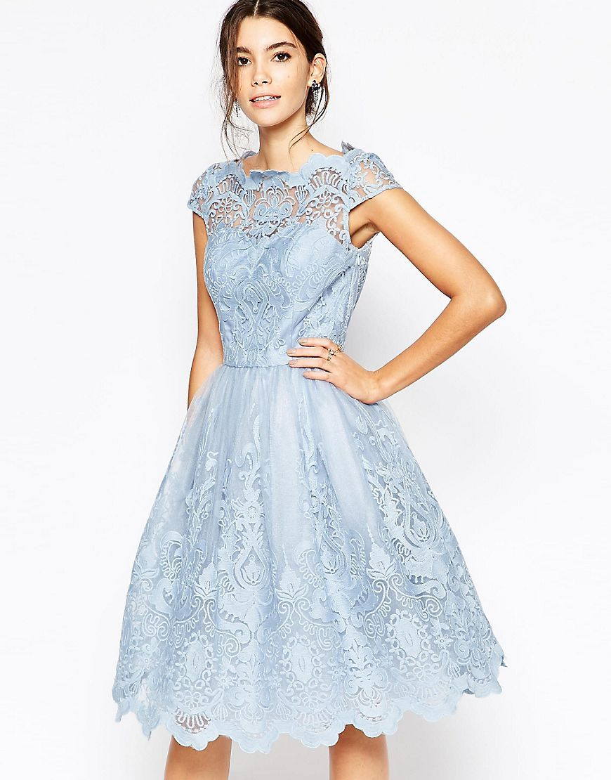 Wedding dresses in london shops  Image  of Chi Chi London Premium Lace Midi Prom Dress with Bardot