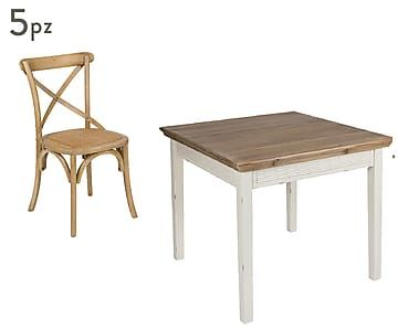 Sedie Marroni ~ Set di tavolo e sedie in legno di paulownia e legno di olmo