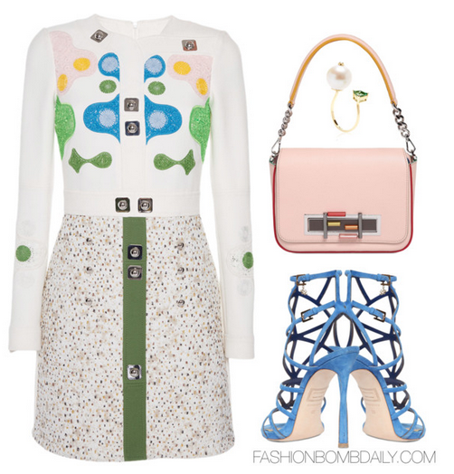 Style Inspiration LuisAviaRoma Peter Pilotto White Counter Mini Dress Dsquared2 120mm Suede Cage Sandal Fendi 3 Baguette Chain Color Trim Leather Bag