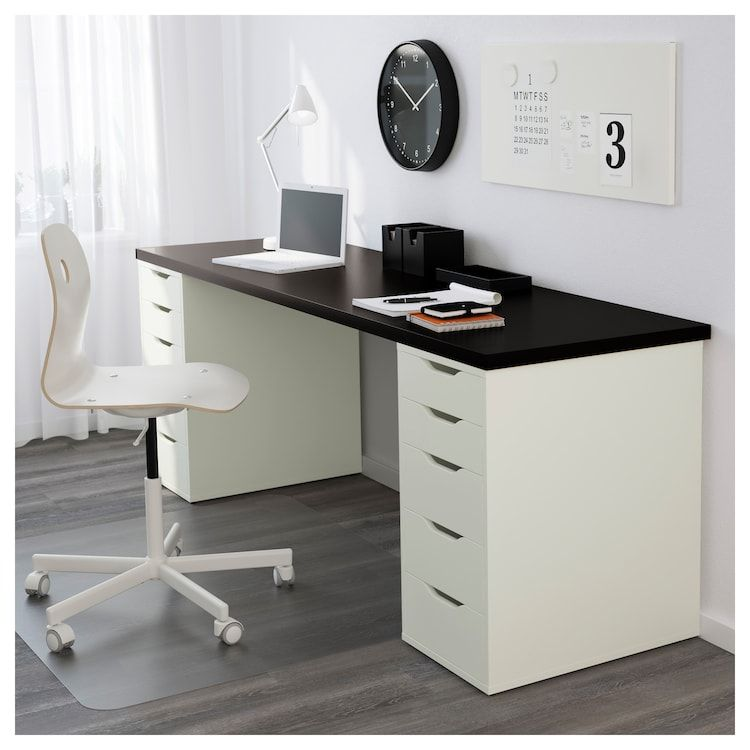 Linnmon Alex Table Black Brown White 78 3 4x23 5 8 En 2020 Escritorio Largo Cajones Ikea Alex Ikea