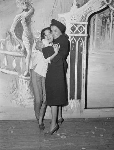 Lena Horne hugging her  daughter Gail Jones