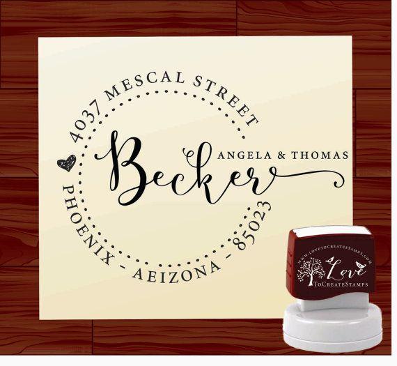 Address Stamp Self Inking or Wood Handle / Custom Modern Calligraphy ...