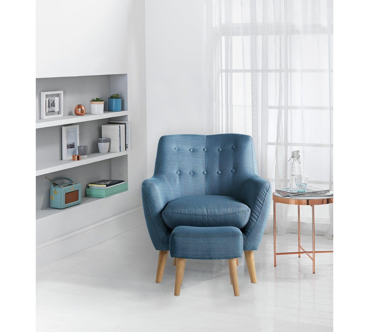 Buy Hygena Otis Fabric Chair and Footstool - Blue at Argos.co.uk
