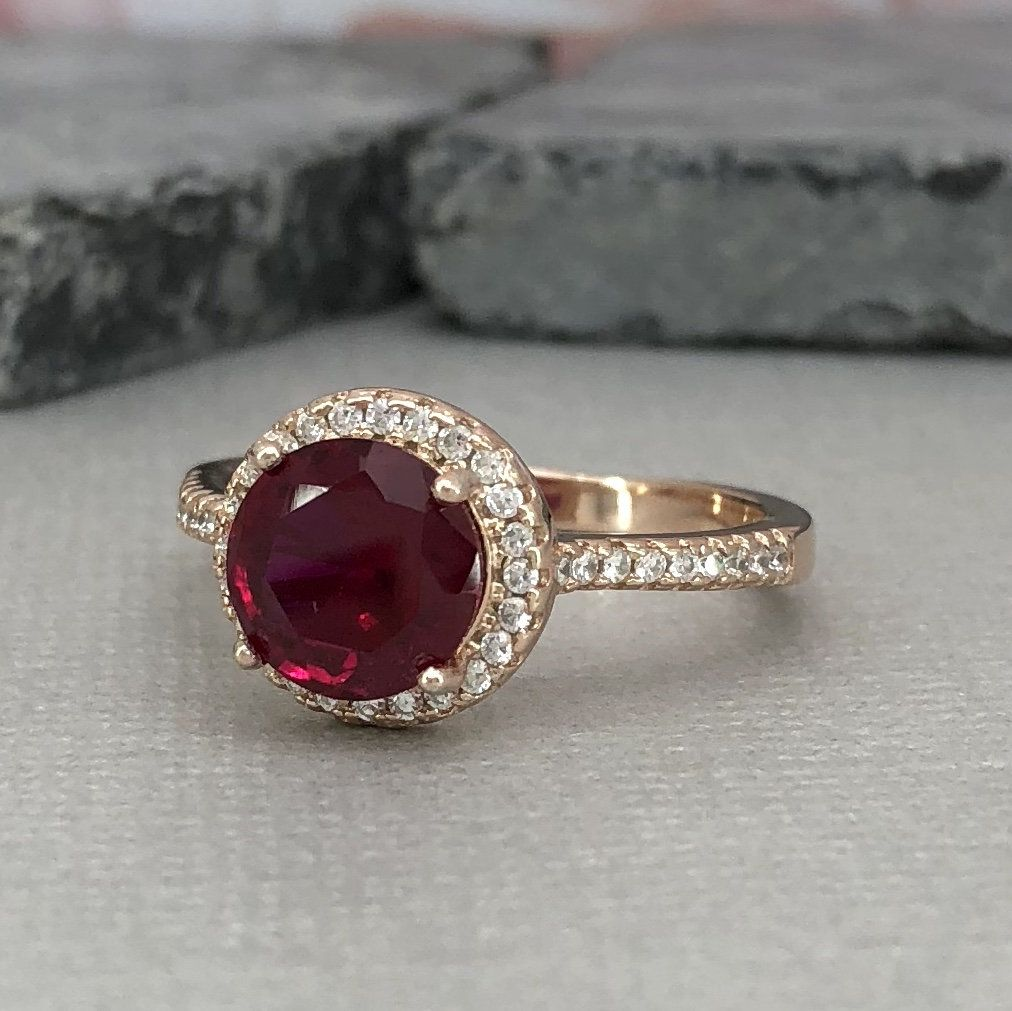 Round ruby rose gold halo engagement ring sterling silver lab ruby