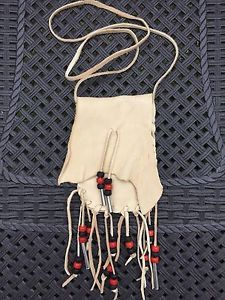 Deerskin Leather Medicine Bag Pouch with Fringe Black Clay Red Glass Beads | eBay