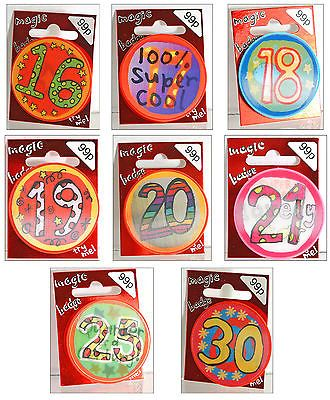 #Magic birthday #badges #holographic age 16 17 18 19 20 21 25 30,  View more on the LINK: http://www.zeppy.io/product/gb/2/300717410763/