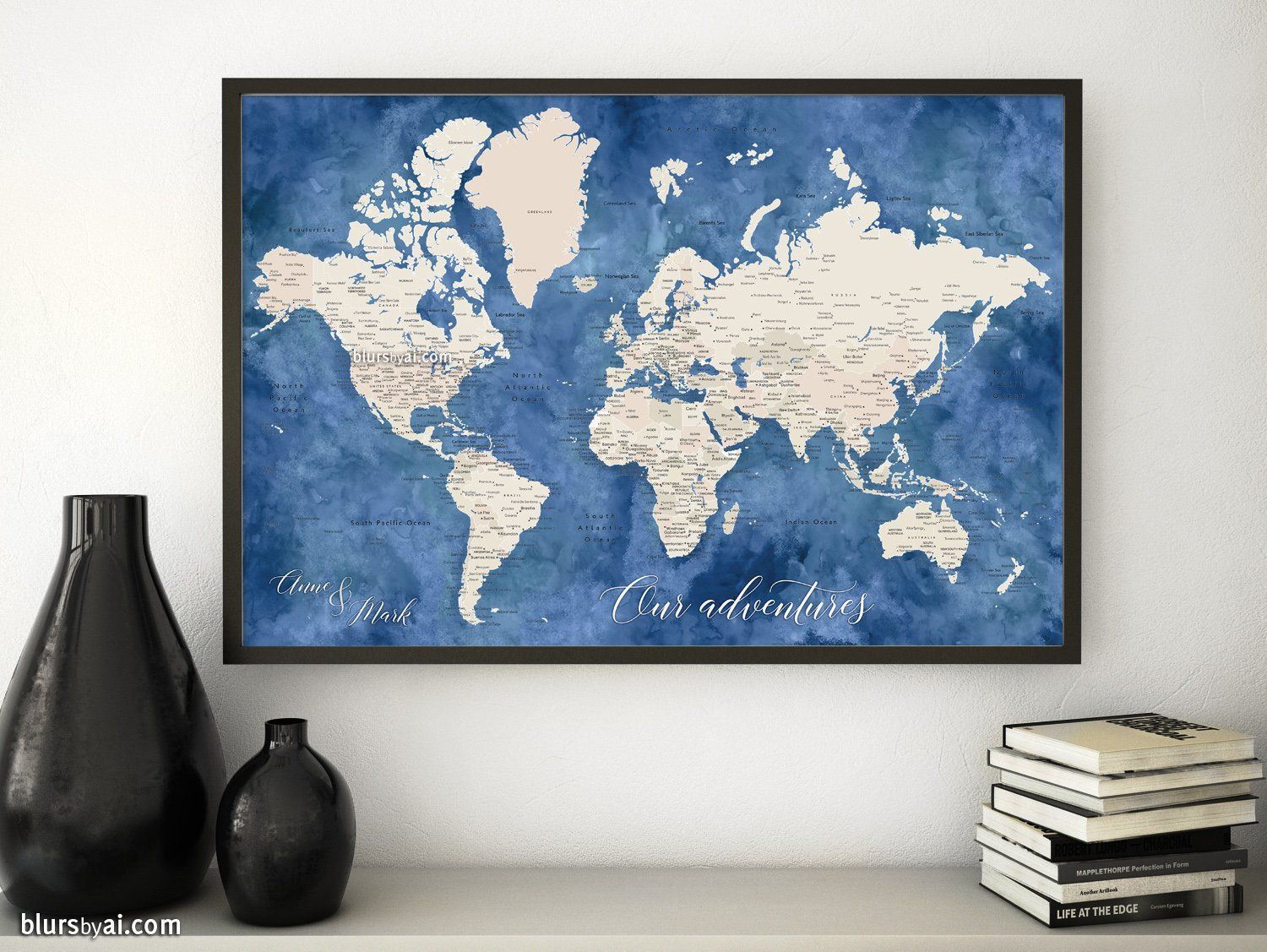 Personalized print world map with cities in