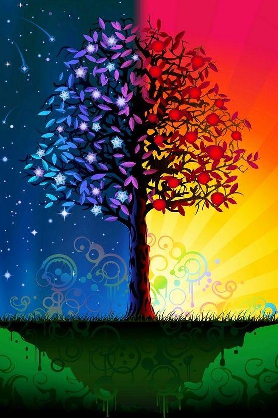 Night Day Tree Les Couleurs De L Arc En Ciel Tree Art Art