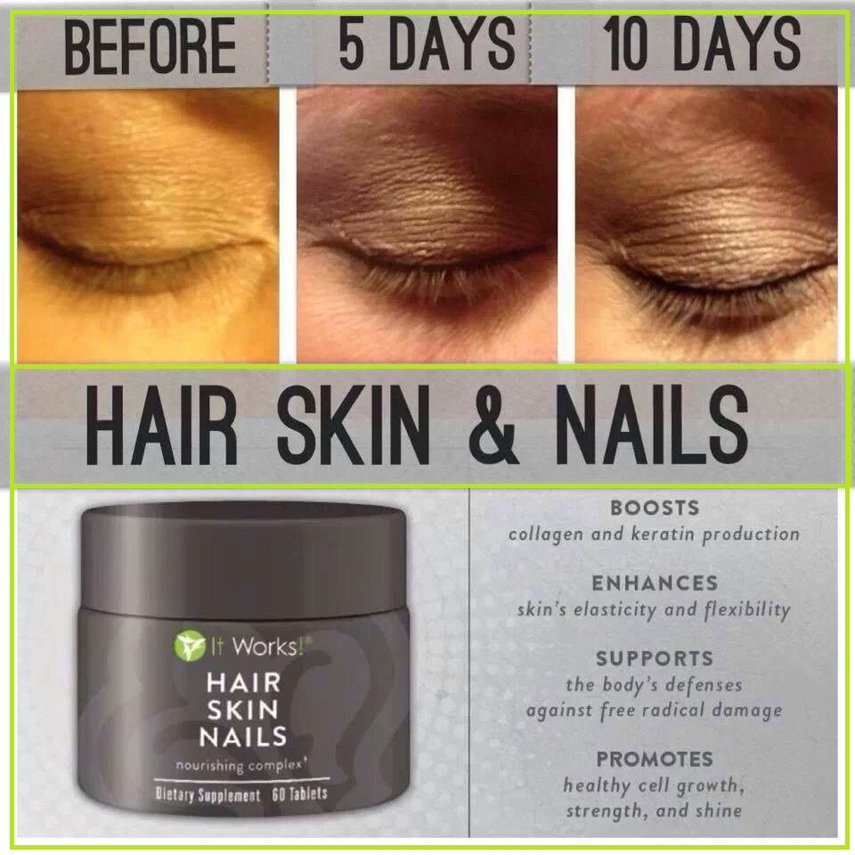 Hair Skin Nails from It Works. YES, even your eyelashes. Regrow hair ...